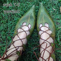 Women Summer Sandals Strappy Pointed Shoes Fairy Flat Green