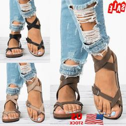 Womens Cork Sole Sandals Flip Flop Casual Straps T-Strap Tho