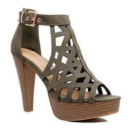 Guilty Shoes - Womens Cutout Gladiator Ankle Strap Platform