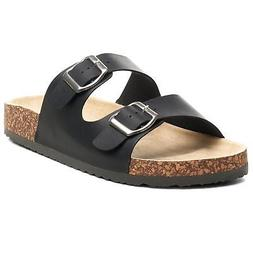 Alpine Swiss Womens Double Strap Slide Sandals EVA Sole Flat