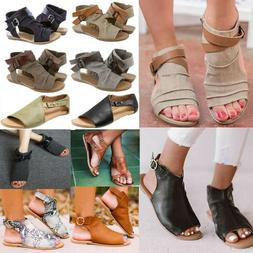 Womens Gladiator Flat Sandals Summer Beach Peep Toe Casual F