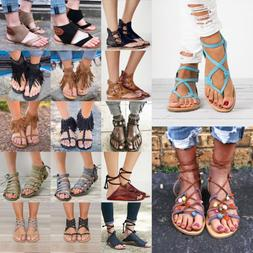 Womens Gladiator Sandals Shoes Thong Flip Flops Flat T Strap