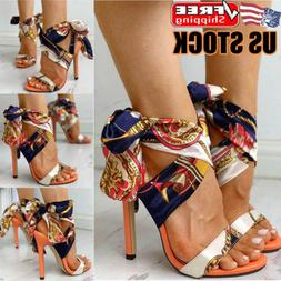 Womens High Heel Strappy Sandals Ladies Party Evening Ankle