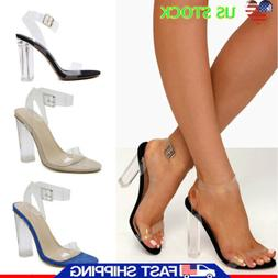 Womens Ladies Sandals Open Toe Block Heel Holiday Ankle Stra