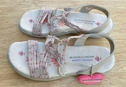 Skechers Women's Memory Foam Sandals Beige/Pink Size 6 NEW