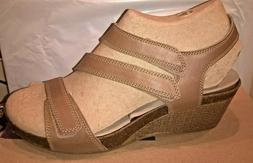 Womens Sandals Clarks 16644 Hevely Ordo Beige Leather Wedge