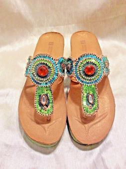 Women's Sandals Beautiful Turquoise&Green W/Medallions Tho