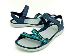 Womens Crocs Swiftwater Webbing Sandals Size 6 navy/Graphic