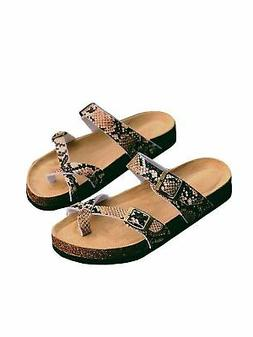 Womens Thong Flat Sandals Gladiator Buckle Strappy Cork Sole