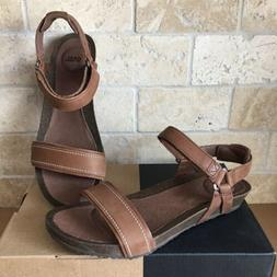 TEVA YSIDRO STITCH BROWN LEATHER WEDGE SANDALS SIZE US 8 WOM